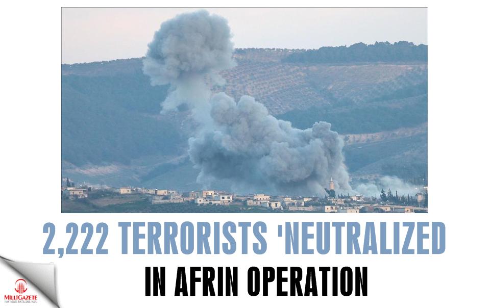 2,222 terrorists 'neutralized' in Afrin operation