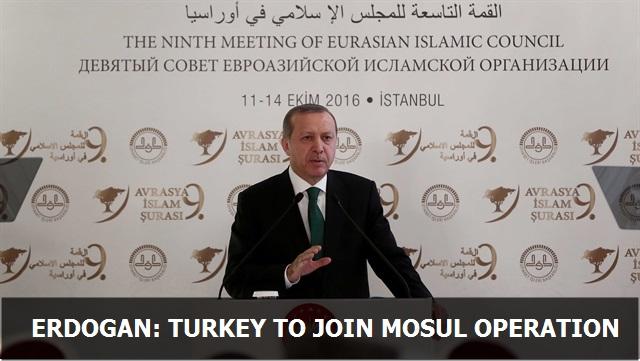 Erdoğan: Turkey to join Mosul operation