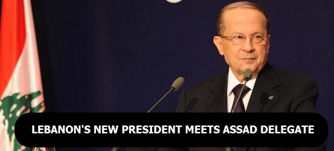 Lebanon's new president meet Assad delegate in Beirut
