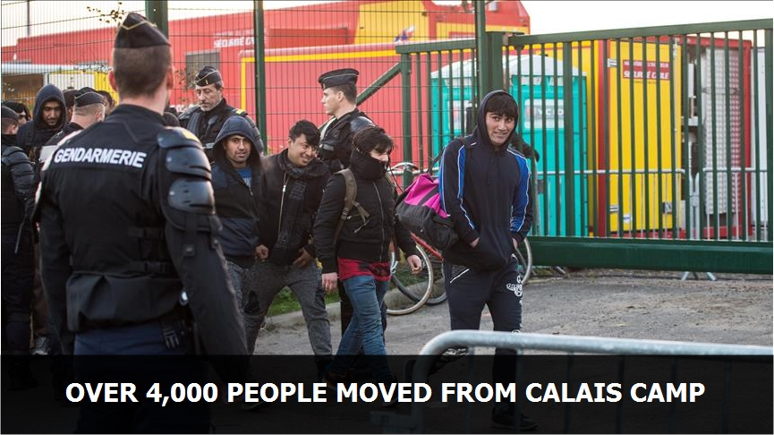 Over 4,000 people moved from Calais camp