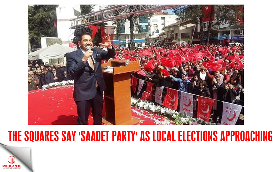 The squares say 'Saadet Party' as local elections approaching
