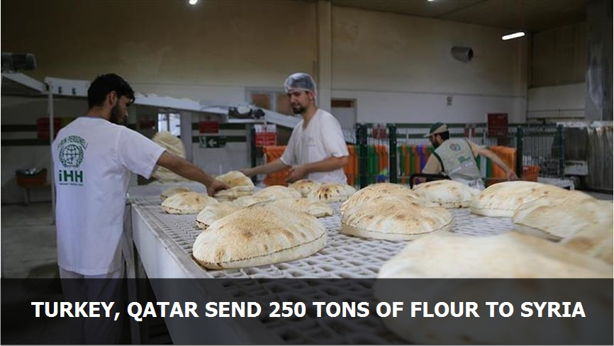 Turkey, Qatar send 250 tons of flour to Syria