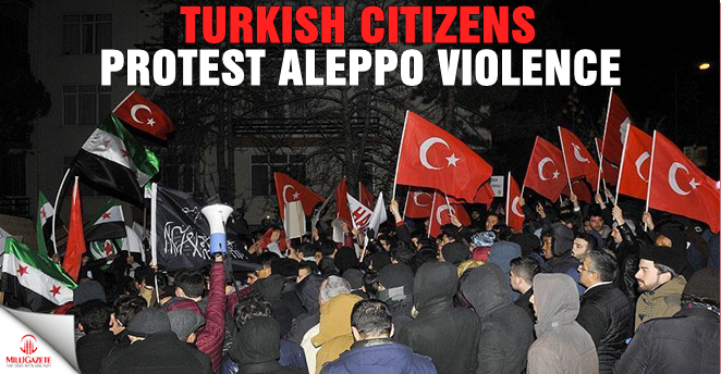 Turkish citizens protest Aleppo violence