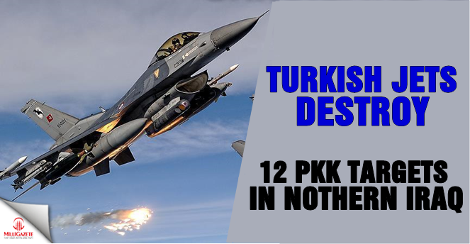 Turkish jets hit 12 PKK targets in northern Iraq