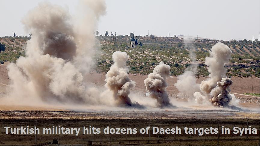 Turkish military hits dozens of Daesh targets in Syria