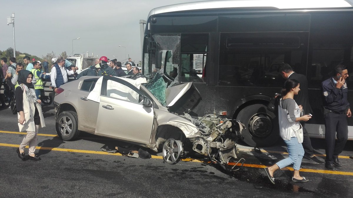 Car crashes head-on with metrobus service in Istanbul