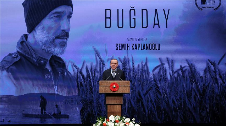 Erdogan at gala of award-winning Turkish film Grain