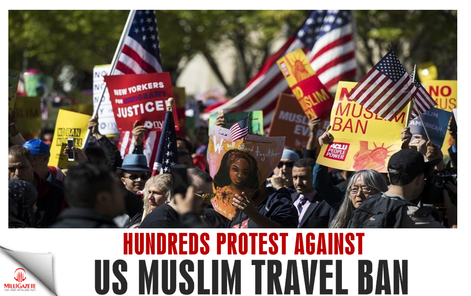 Hundreds protest against US Muslim travel ban