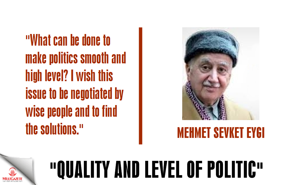 "Mehmet Sevket Eygi: ""Quality and level of politic"""