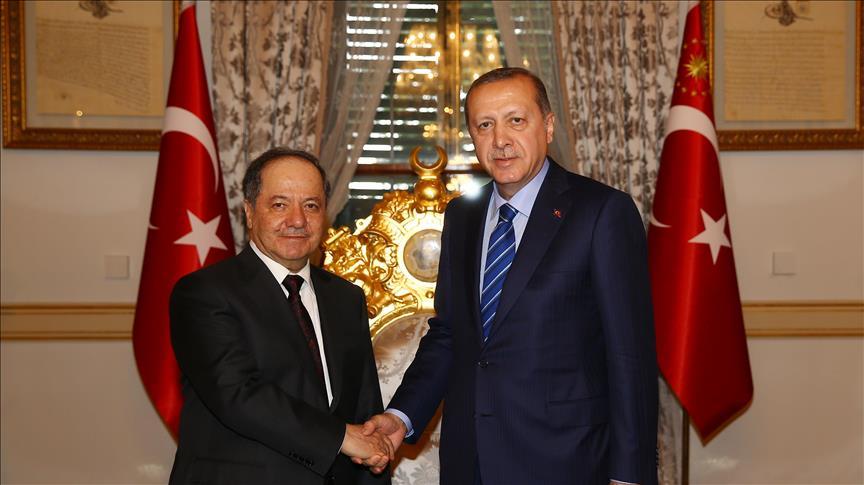 President Erdogan meets Iraqi Kurdish region's leader Barzani