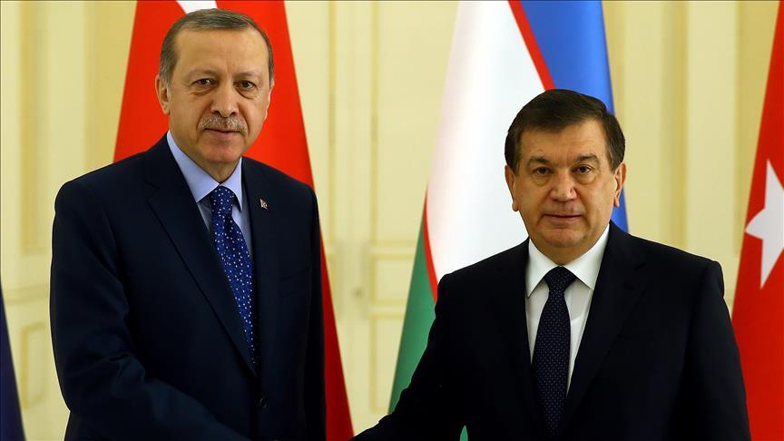 President Erdogan meets Uzbekistan leader Shavkat Mirziyoyev