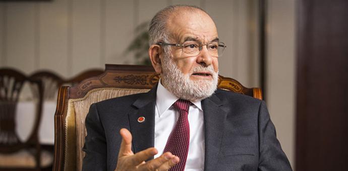 Saadet Party leader Temel Karamollaoglu addresses the nation