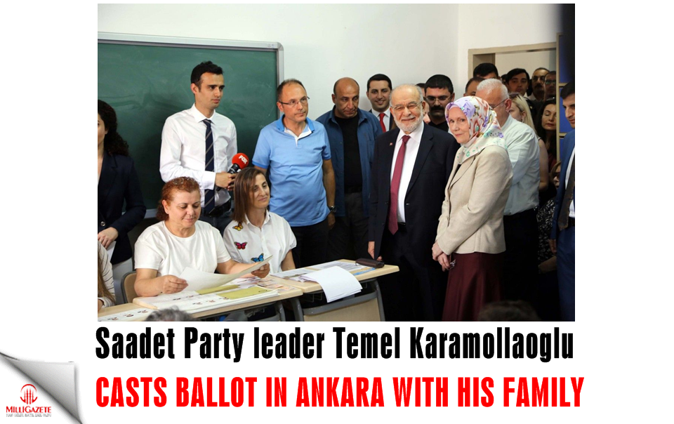 Saadet Party leader Temel Karamollaoglu gives message after casting ballot in Ankara