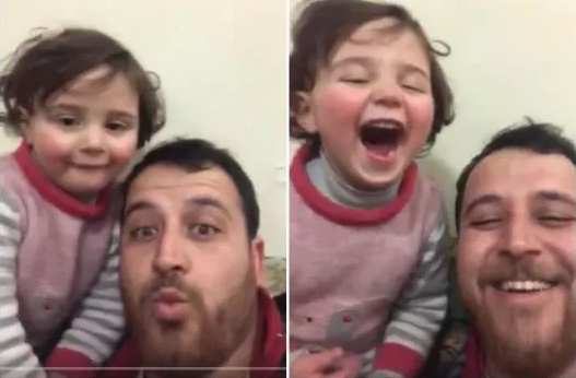 Syrian dad makes up 'Laughing Game' to distract daughter from sounds of bombing in Idlib