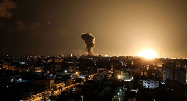 Terror regime Israel launches airstrike on Gaza