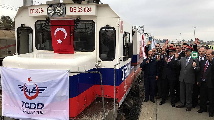 Train on Baku-Tbilisi-Kars railway departs from Mersin