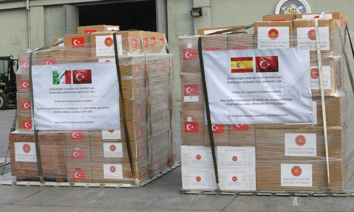 Turkey sends medical aid packages with Rumi's words on to Italy, Spain