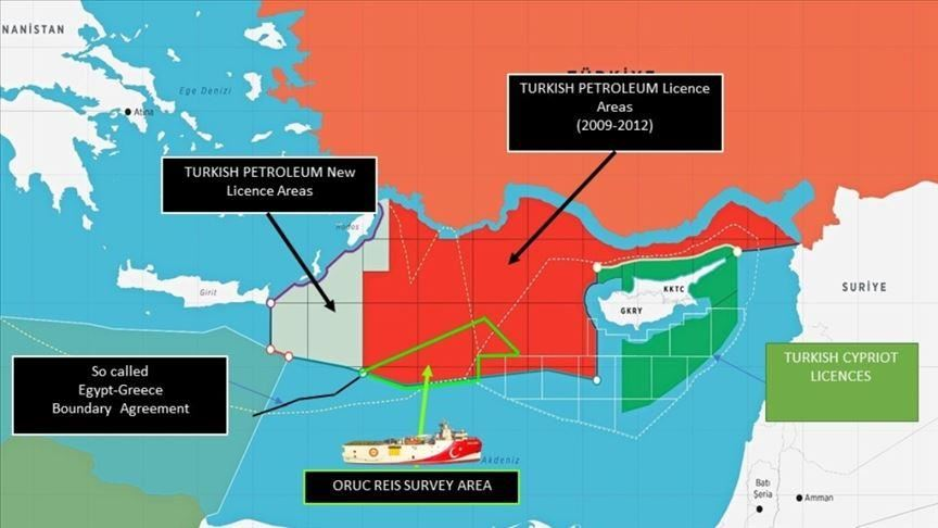 Turkey shares map of Oruc Reis's offshore activity