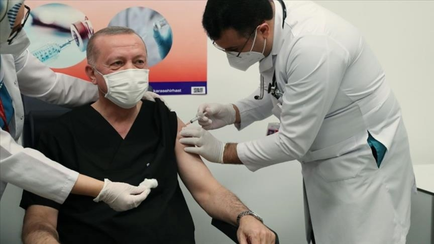 Turkish president gets COVID-19 vaccine