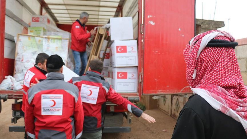 Turkish Red Crescent hands out aid in Afrin, Syria