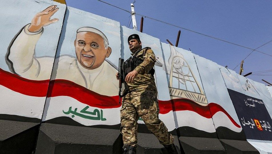 What is the Pope doing in Iraq?